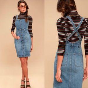 Free People Button Front Denim Jumper Dress